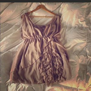Taupe ruffle midi dress from H&M. Size 10/12!